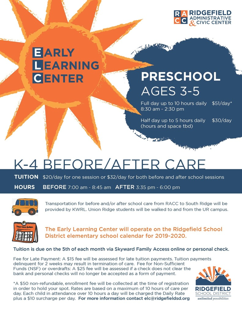 Early Learning Center information flyer