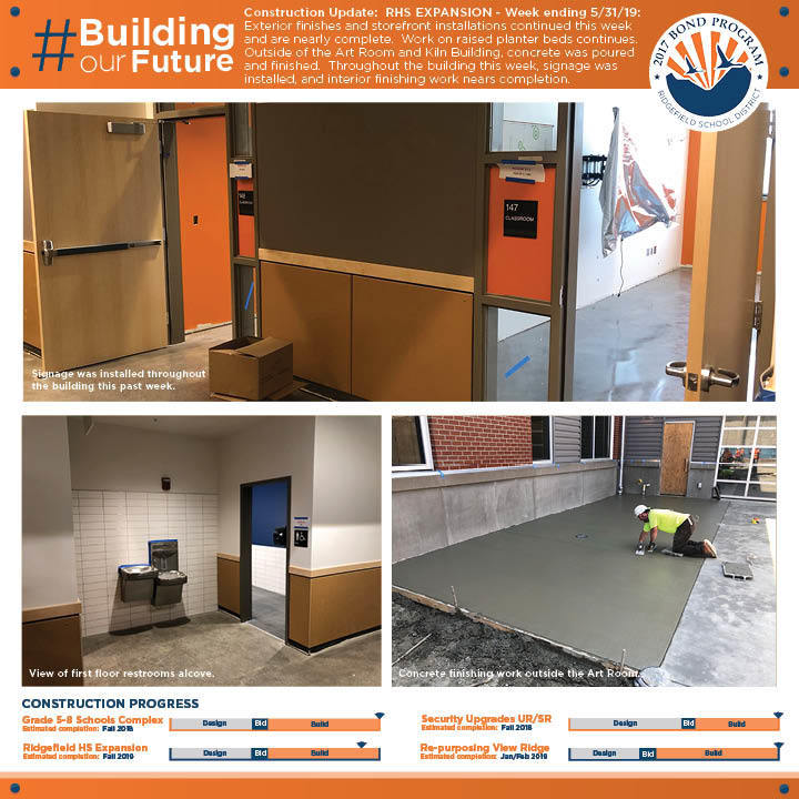 Weekly construction update for week ending 5/31/19 for RHS Expansion project.
