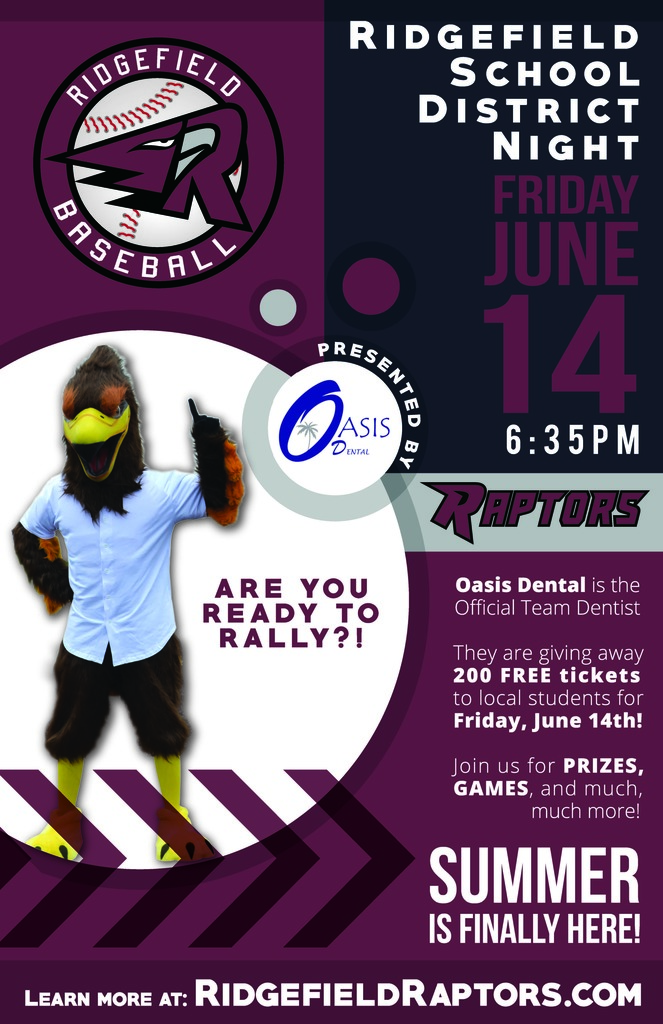 Ridgefield Raptors flyer for Ridgefield School District Night