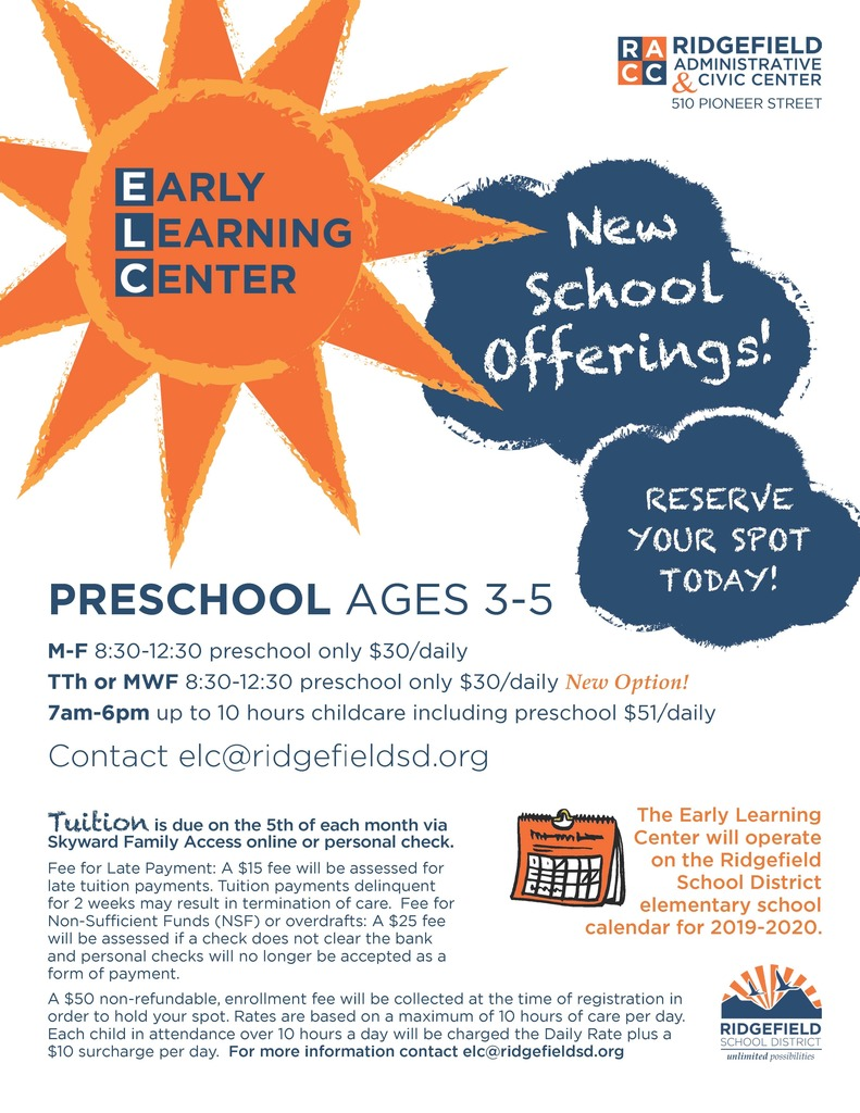 Early Learning Center flyer