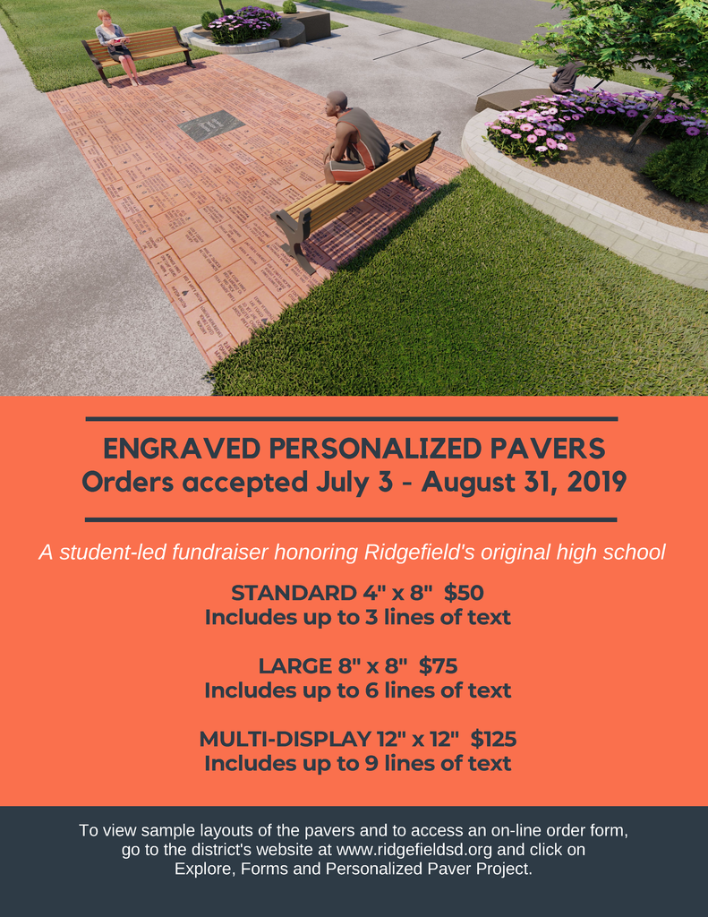 Flyer for paver orders July-Aug 2019.