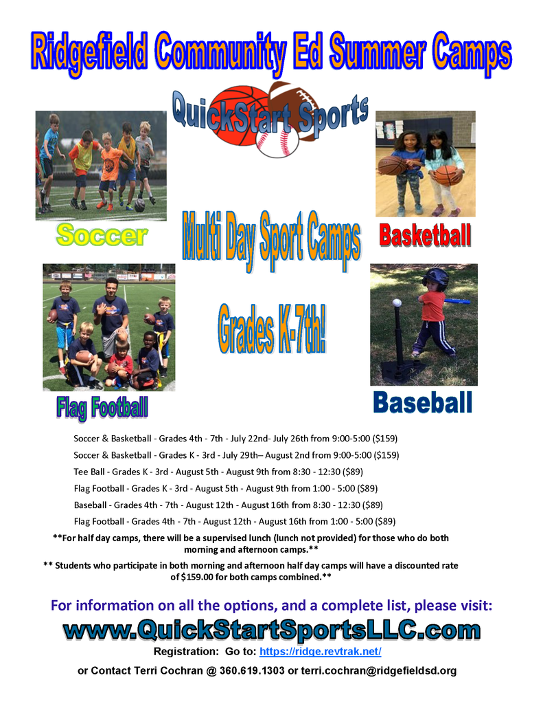 Community Education Multi Day Sport Camps flyer Summer 2019
