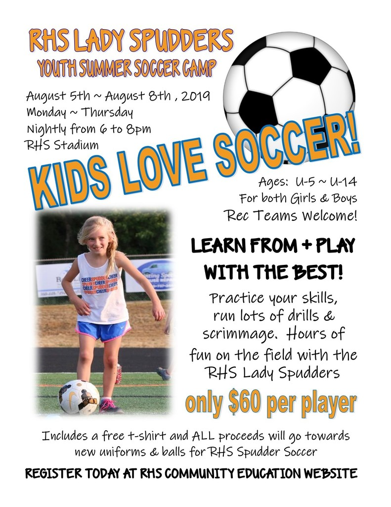 RHS Youth Summer Soccer Camp flyer