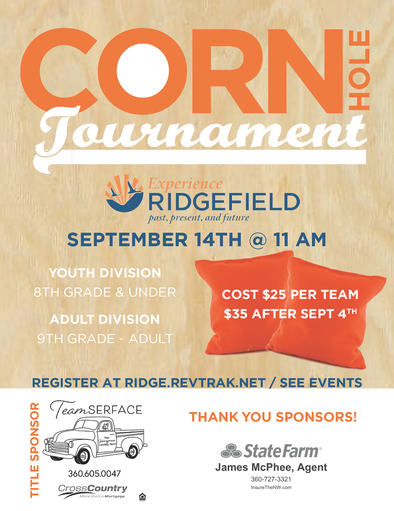 Flyer for Corn Hole Tournament at Experience Ridgefield 2019