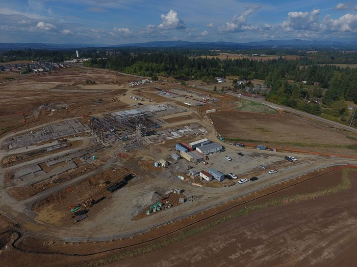 Aerial of 5-8 school complex construction.