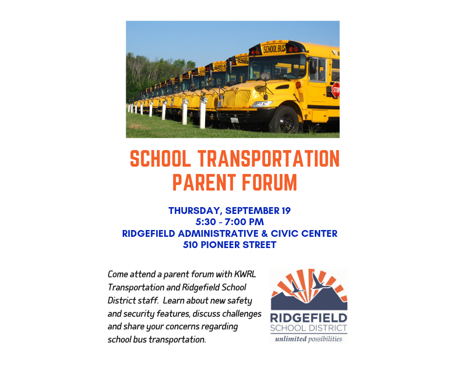 Flyer for School Transportation Parent Forum Sept 19, 2019