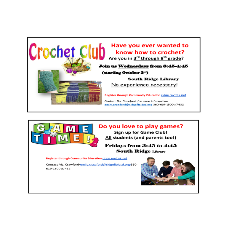 Flyer for Crochet Club and Game Club