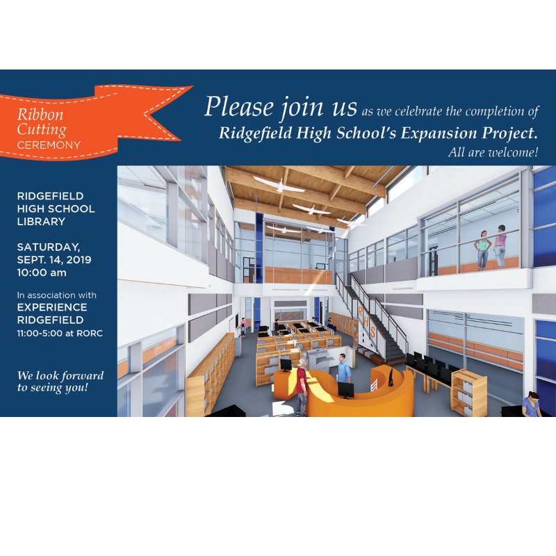 Invitation to ribbon-cutting for RHS Expansion Building 9.14.19