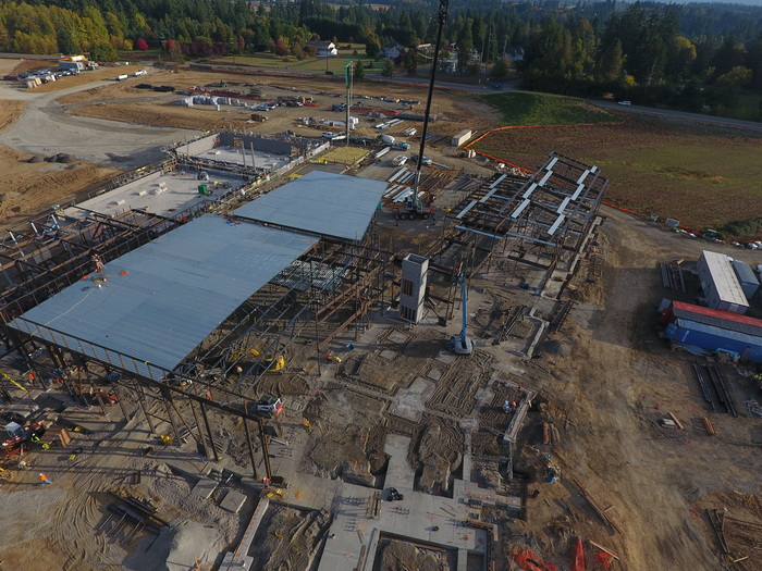 Aerial shot of cafeteria and classroom wings Oct 12 2017