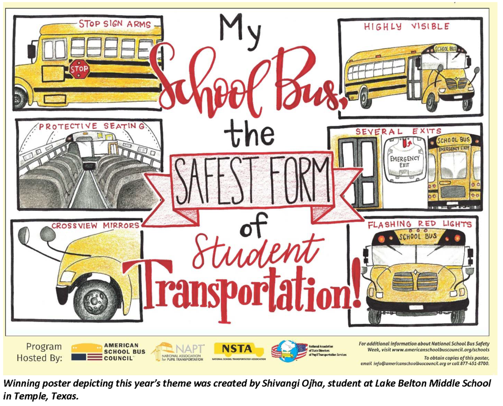 Winning 2019 bus safety poster by Shivangi Ojha.
