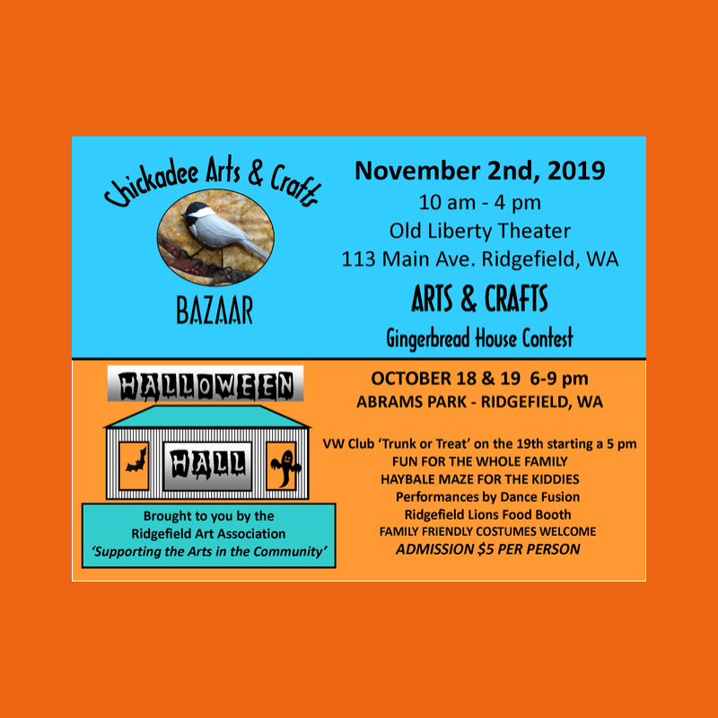 2019 Chickadee Arts & Crafts Bazaar / Halloween Hall Flyer