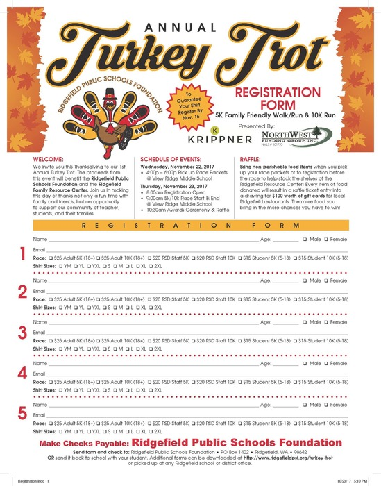 Turkey Trot 2017 registration form