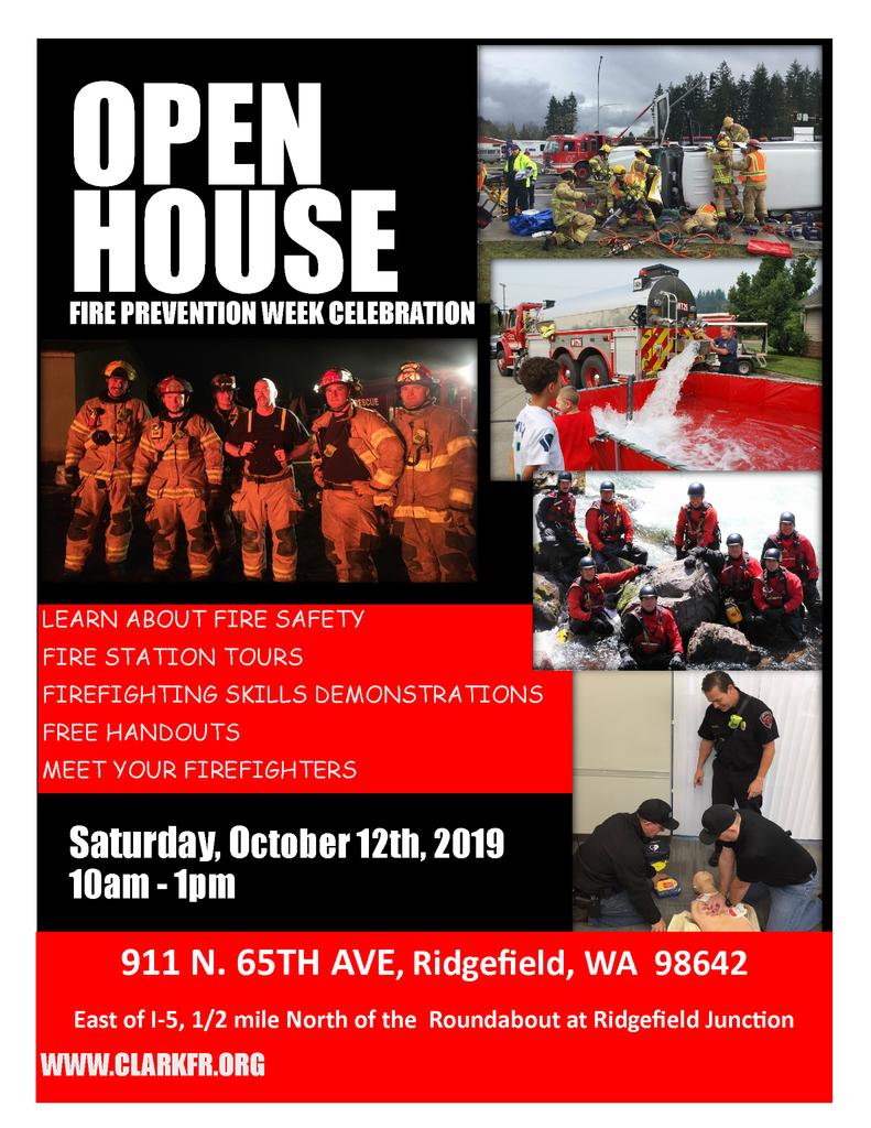 Flyer for Ridgefield Fire Station Open House 10.12.19