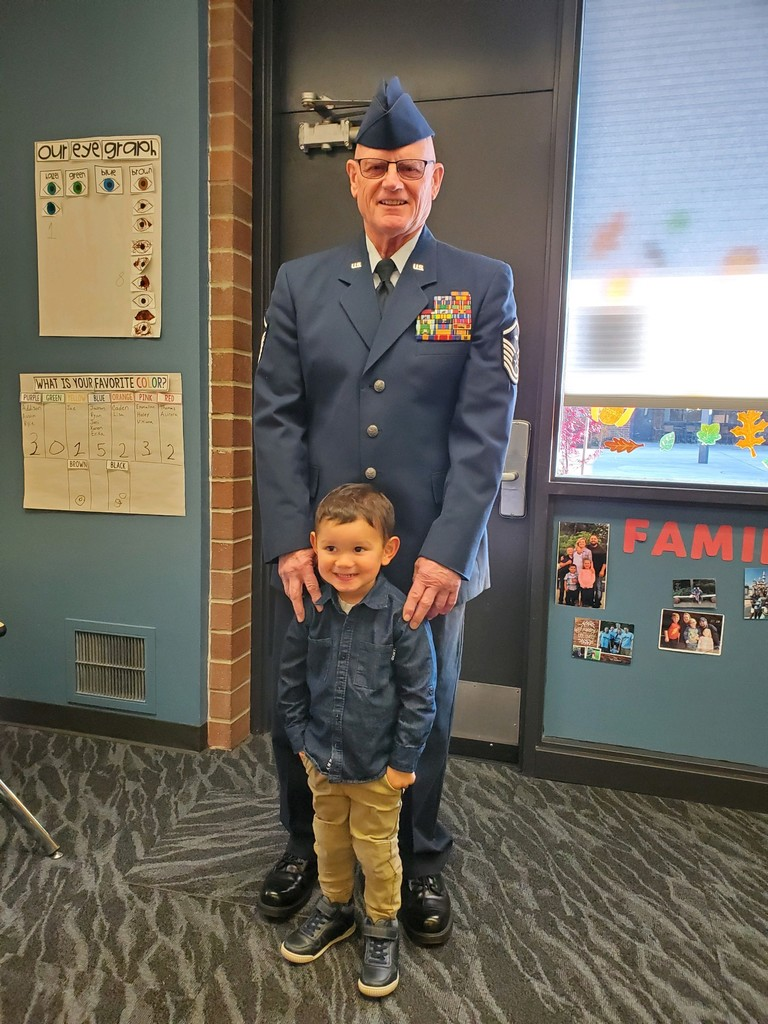 Veteran Gary Stroh, poses with his grandson, Austin at ELC visit