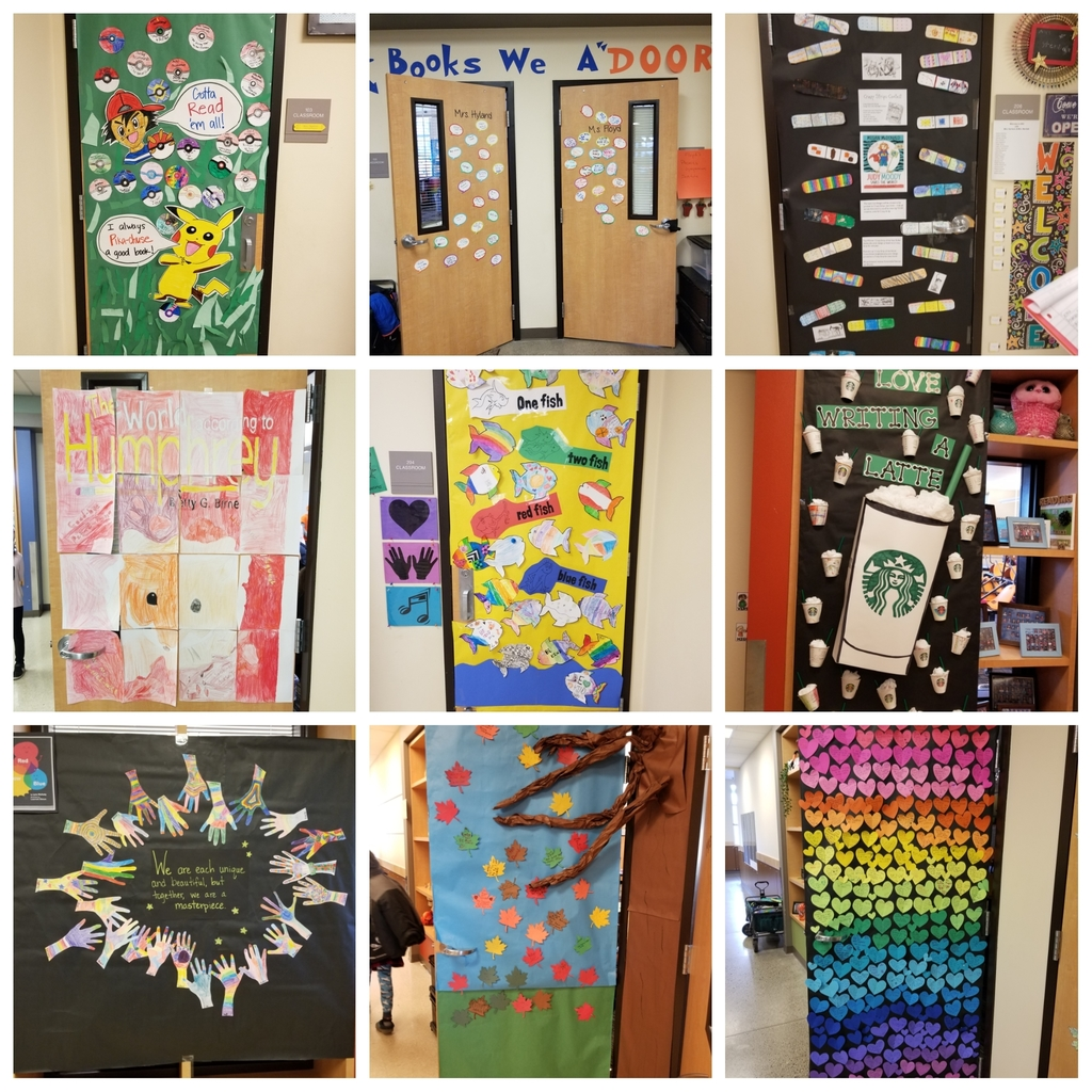 Classroom doors decorated for Union Ridge Read-a-Thon