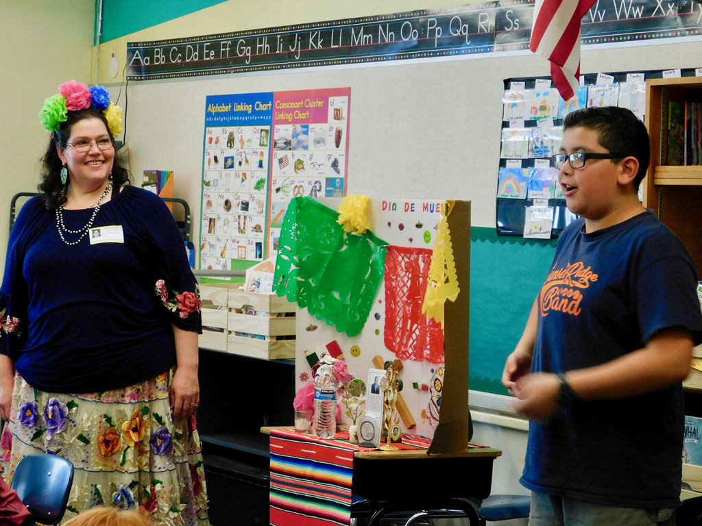 Rebeca Jaramillo and son Miguel do a Dia de los Muertos presentation to South Ridge students
