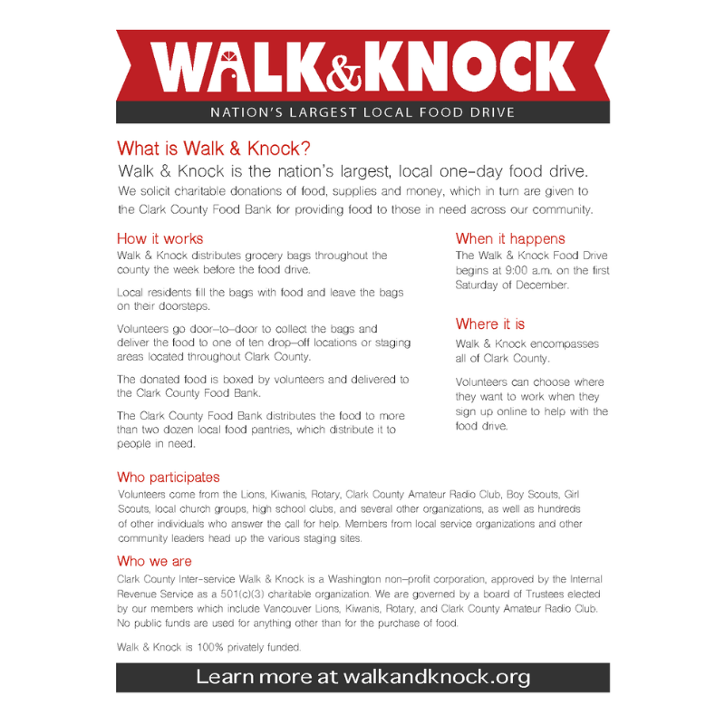 Walk & Knock 2019 Info Flyer