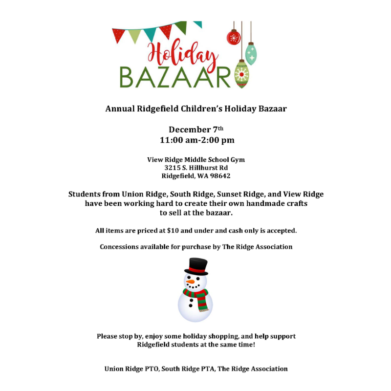 Ridgefield Children's Holiday Bazaar 2019 flyer