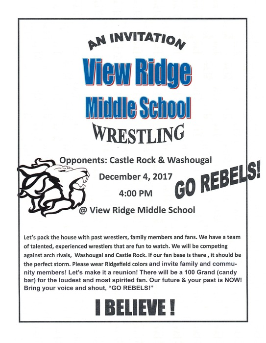 VRMS Wrestling Flyer Dec 4 2017
