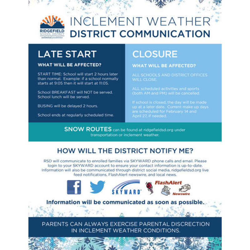Inclement Weather District Communication flyer