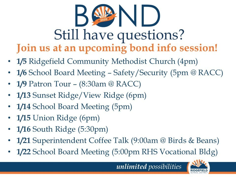 Bond info meetings in January