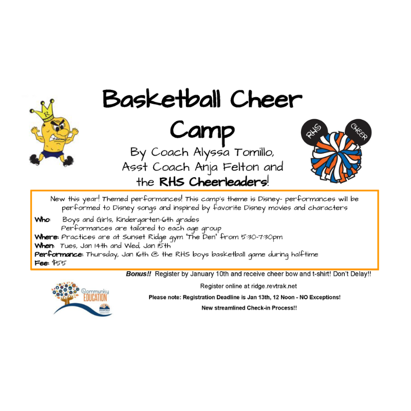 Flyer for Winter Cheer Camp 2020