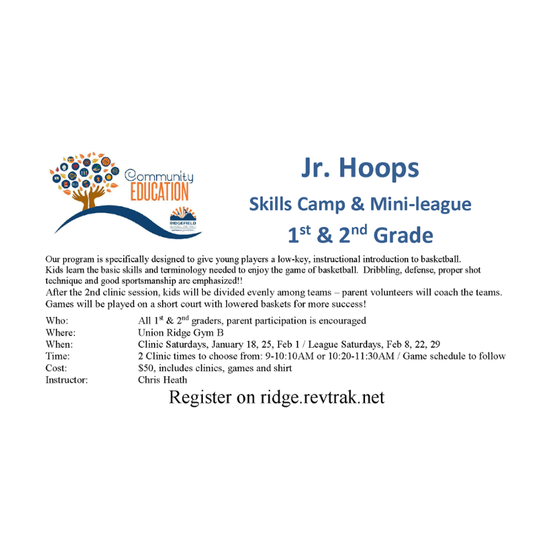 Community Education's Jr. Hoops flyer