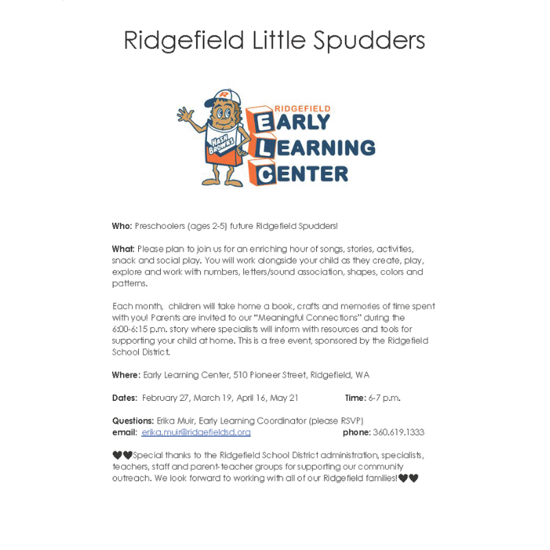 Ridgefield Little Spudders 2020 flyer