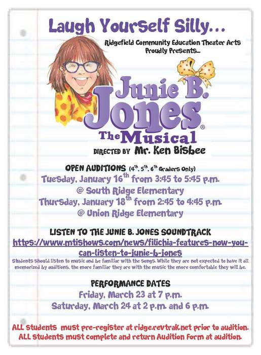 Junie B. Jones open auditions flyer