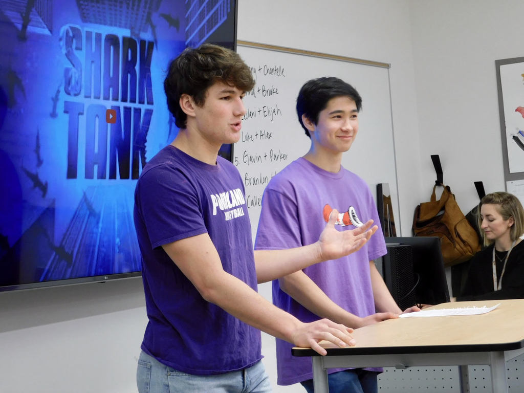 "Luke Price and Alex Fulton pitch their Purple Plaque Attack business startup to panel of ""sharks""."
