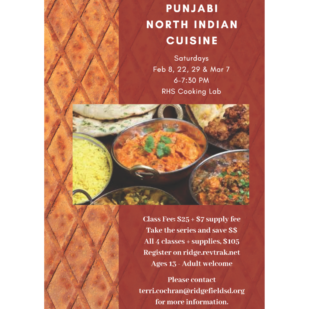 Punjabi North Indian cooking class flyer