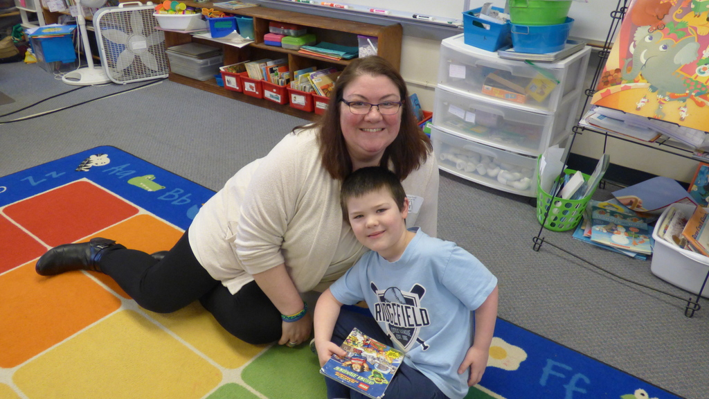 Dresden Wachsnicht and mom Amy on Take Your Parent to School Day.