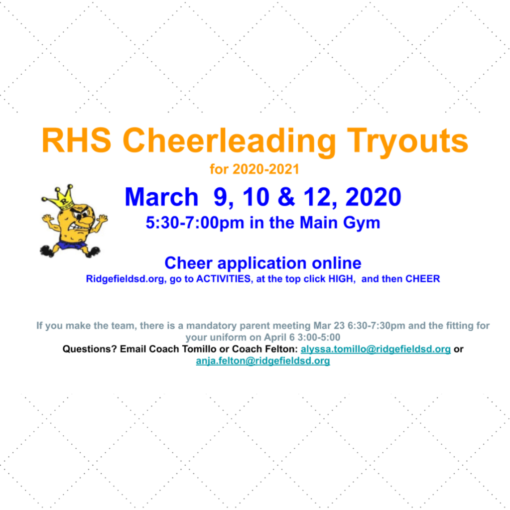 RHS Cheerleading Tryouts flyer for 2020-21