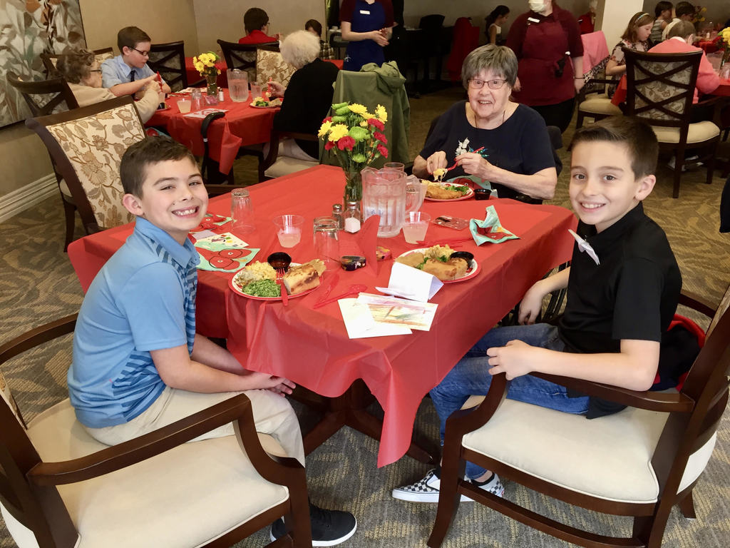 South Ridge fourth graders enjoy spending time with their good friends at Highgate Senior Living Center.