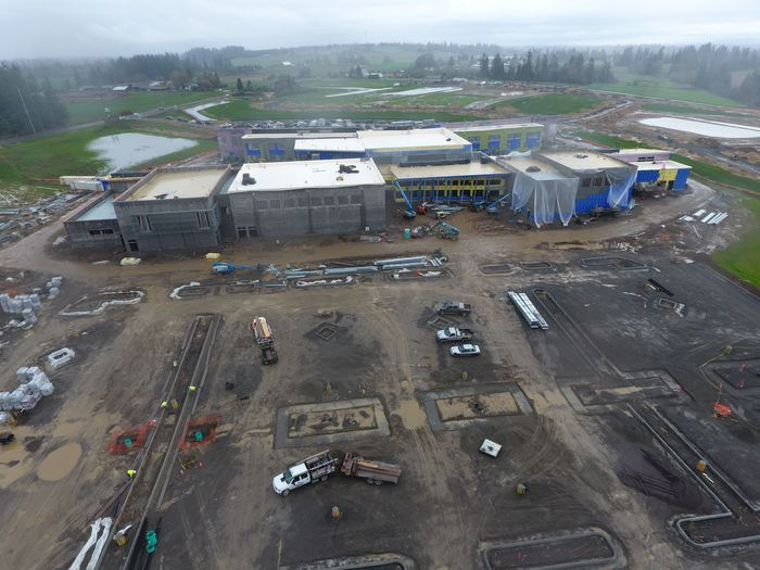 Aerial view Feb of 5-8 schools complex from North Parking Lot