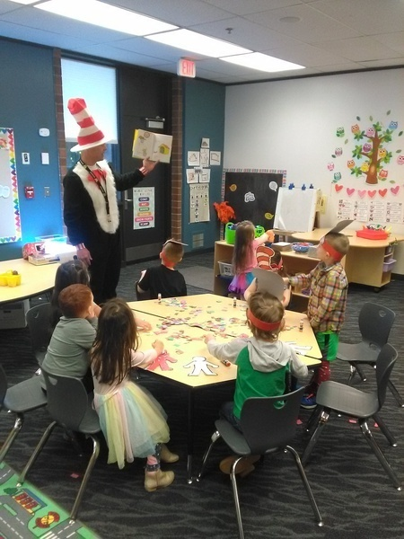 Chris Griffith reads to an ELC class on Read Across America Day on 3/2/20.