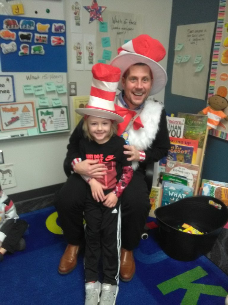 Dr. Nathan McCann and son, Declan on Read Across American Day 3/2/20.