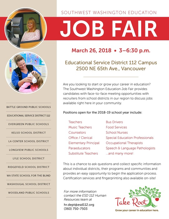 ESD 112 Job Fair Flyer 2018