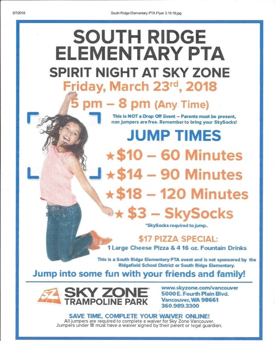 South Ridge Sky Zone flyer