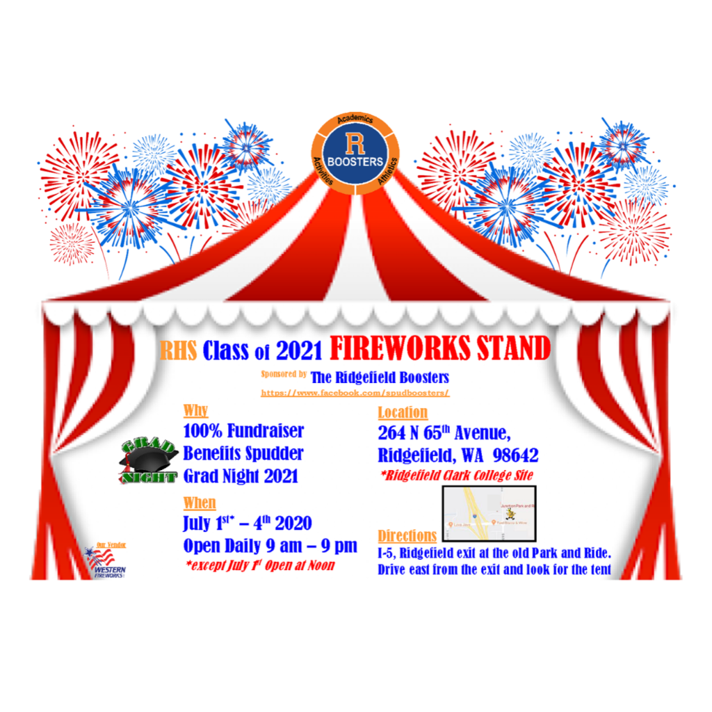 Flyer for Ridgefield Boosters Fireworks Stand 2020