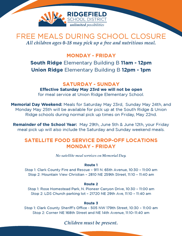 Friday Meal Service at Union Ridge and South Ridge Will Provide Meals for the Weekend