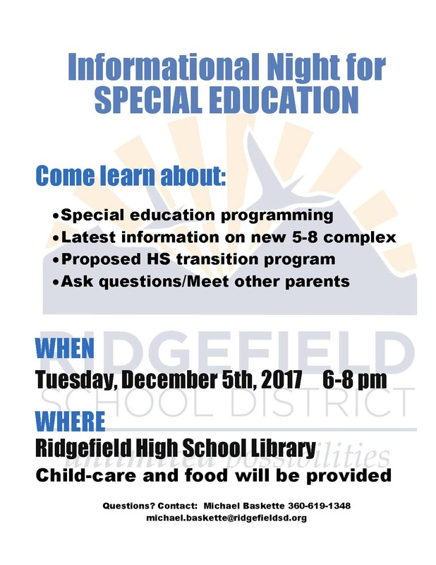 Special Education Informational Night Scheduled for December 5th