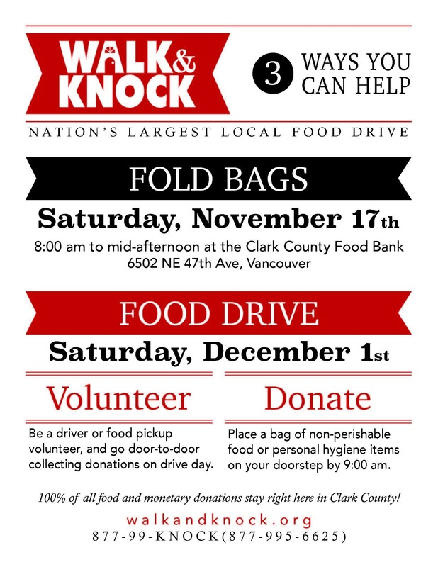 Volunteers Needed for Walk & Knock Food Drive on Saturday, December 1