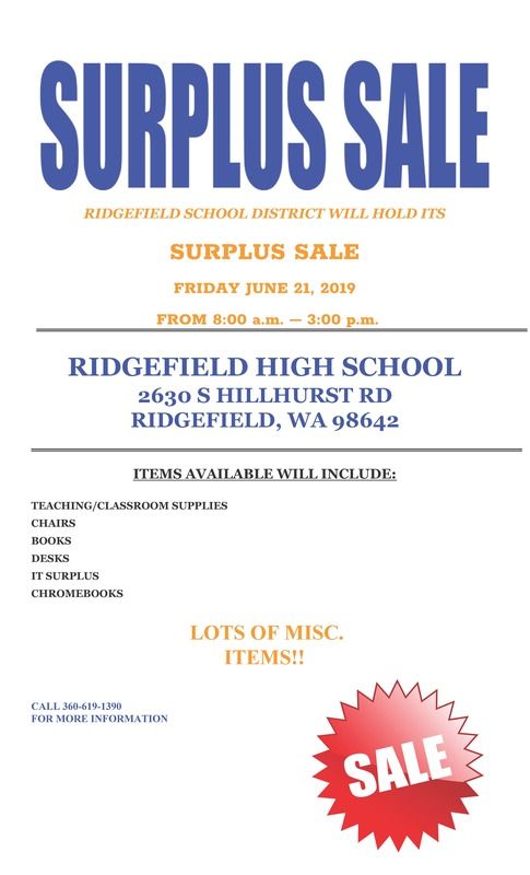 District Surplus Sale Set for Friday, June 21st