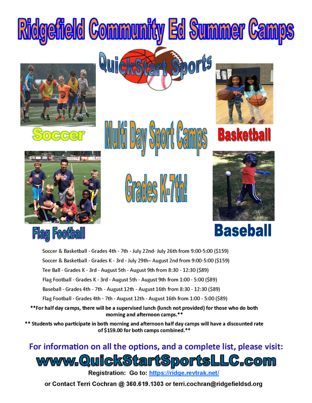 Ridgefield Community Education Offers Multi-Day Sport Camps for Students in Grades K-7
