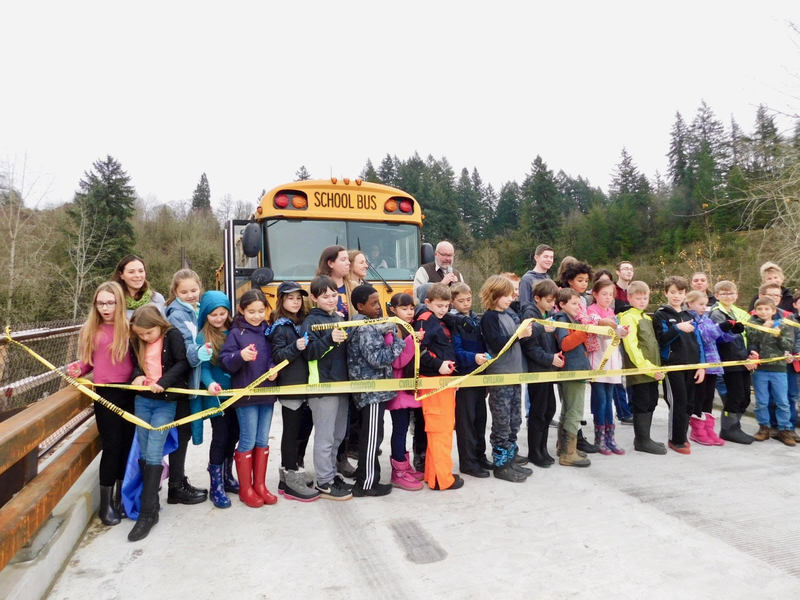 Ridgefield Students First to Cross New Wildlife Refuge Bridge for Tree Planting Project